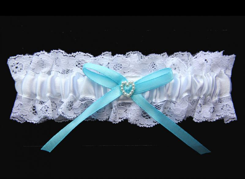 5 x Bridal Wedding Garter White with Blue Bow