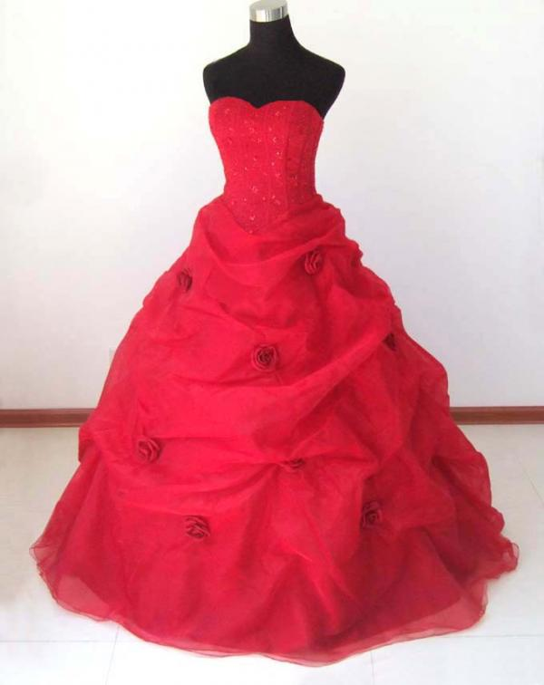 Red Wedding Ball Gown Dress