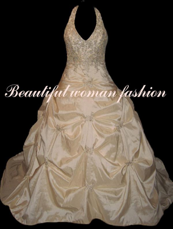 Cream/Gold Wedding Ball Gown Dress